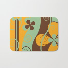 Modern Retro Floral Graphic Art Bath Mat