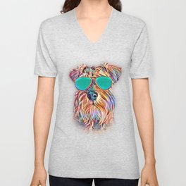 Miniature Schnauzer Colorful Neon Dog Sunglasses Unisex V-Neck