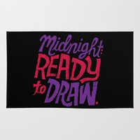 cocaine Area & Throw Rugs featuring Midnight: Ready to Draw by Chris Piascik