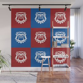Red White and Blue Nine Bulldog Cares Wall Mural