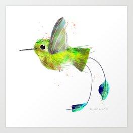 Flying Booted Racket Tailed Hummingbird Bird Illustration  Art Print