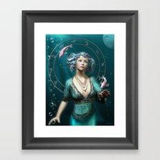 Pisces zodiac fantasy circle Framed Art Print