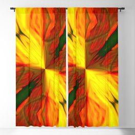Bold Red, Green and Gold Abstract Kaleidescope Blackout Curtain