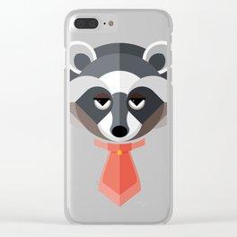 Raccoon Geo-Animal Friend Clear iPhone Case