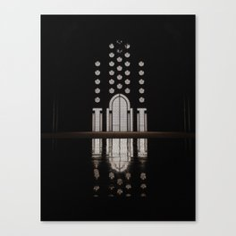 Islamic Architecture Inside Mausoleum Window Geometric Pattern Silhouette Mysterious Canvas Print