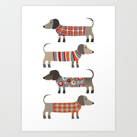 Sausage Dogs in Sweaters Art Print