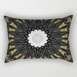 Dark Black Gold & White Marble Mandala Rectangular Pillow