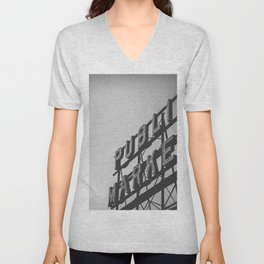 Seattle Pike Place Public Market Black and White Unisex V-Neck