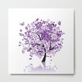 Purple Floral Tree Metal Print
