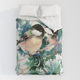 Chickadees in the Woods Comforters