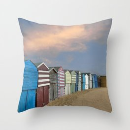 Beach Huts in Broadstairs Throw Pillow