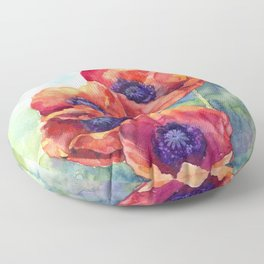 Watercolor red poppy flowers Floor Pillow