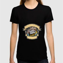 Angry Wolf Pirate Ship Banner Retro T-shirt