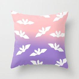 Pastel Spooky Bats Pattern Throw Pillow