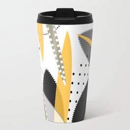 Contemporary composition of abstract forms in black and white enhanced with yellow, black and white Travel Mug