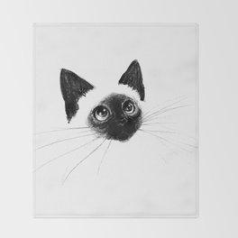 Curious Siamese Kitten Throw Blanket