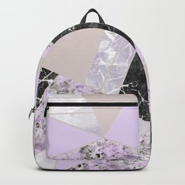 Geometrical black white lavender abstract marble Backpack