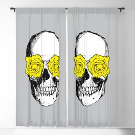 Skull and Roses | Skull and Flowers | Vintage Skull | Grey and Yellow | Blackout Curtain