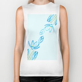 blue botanical crocus flowers watercolor Biker Tank