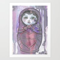 nan lawson Art Prints featuring Nan the Nesting Doll by Pan Art