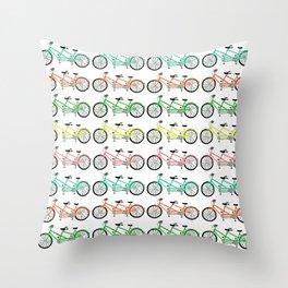 tandem bikes - multi color Throw Pillow