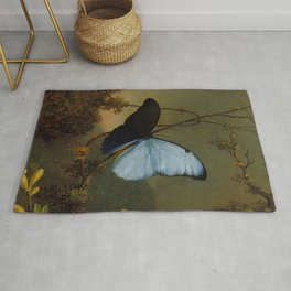 Blue Morpho Butterfly 1865 By Martin Johnson Heade | Reproduction Rug