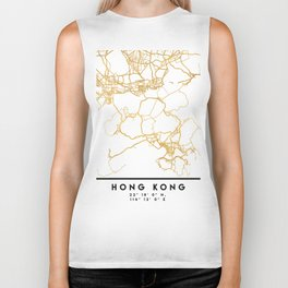 HONG KONG CHINA CITY STREET MAP ART Biker Tank