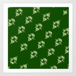 Canalflowers on green pattern Art Print