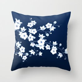 Navy Blue White Cherry Blossoms Throw Pillow