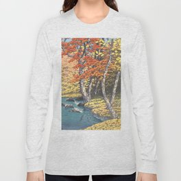 Japanese Woodblock -  Autumn in Oirase by Kawase Hasui, 1933 Long Sleeve T-shirt