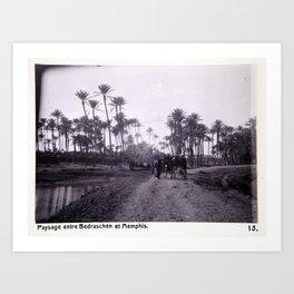Landskap mellan Badrashin och Memfis Art Print