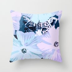 Behind the scenes - big cat hiding behind the flowers - lovely colors Throw Pillow