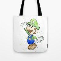 luigi Tote Bags featuring Luigi Watercolor Art by Olechka