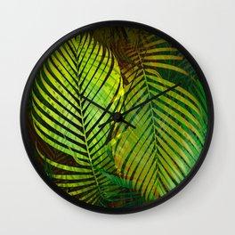 TROPICAL GREENERY LEAVES Wall Clock