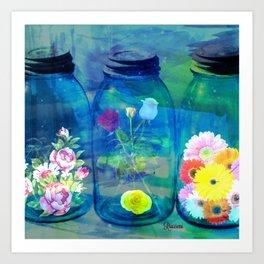 Flowers Jars Art Print