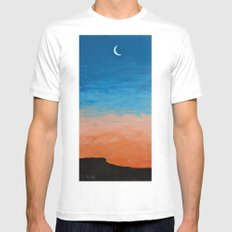 Pre-Dawn Moonrise, painting White MEDIUM Mens Fitted Tee