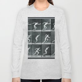 Time Lapse Motion Study Man Running Monochrome Long Sleeve T-shirt