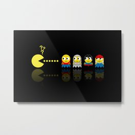 Pacman with Lego Ghosts Metal Print