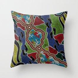 Aboriginal Art Authentic - Walking the Land Throw Pillow