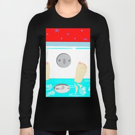 Soaking in the Tub with Red Wallpaper Long Sleeve T-shirt