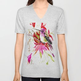 Little Hummingbird and Tropical Pink Flowers Unisex V-Neck