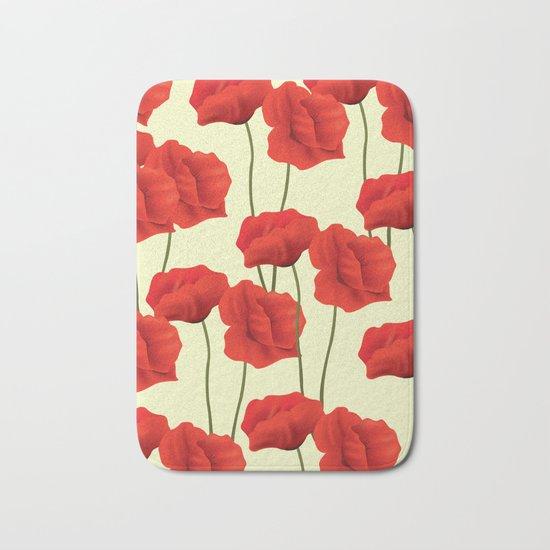 Red flowers #society6 Bath Mat