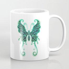 Intricate Teal Blue Vintage Tribal Butterfly Coffee Mug