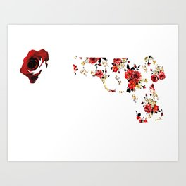 shoot and roses Art Print
