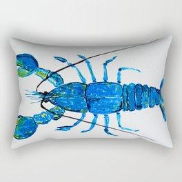 Blue Lobster Wall Art, Lobster Bathroom Decor, Lobster Crustacean Marine Biology Rectangular Pillow