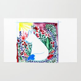 white fox in flowers landscape Rug