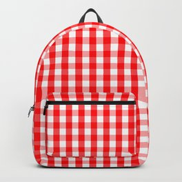 Large Christmas Red and White Gingham Check Plaid Backpack