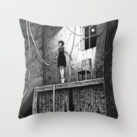 theatre Throw Pillows featuring Puppet Theatre by Michael Brack