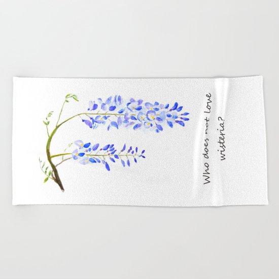 wisteria watercolor flower blue color  Beach Towel