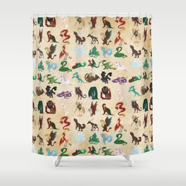 Mythical Creatures Pattern Shower Curtain